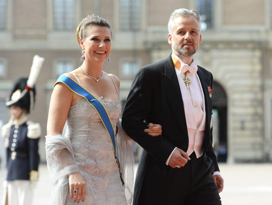 Princess Martha Louise and husband Ari Behn at wedding of Sweden's Crown Prince Carl Philip and Sofia Hellqvist at Stockholm Palace on June 13, 2015.