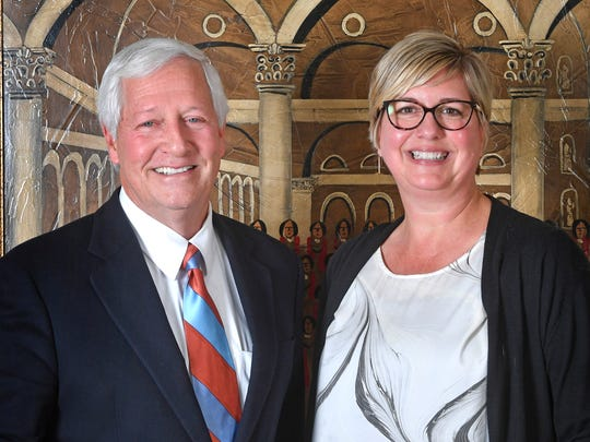 Belmont President Dr. Bob Fisher and Shari Fox, president