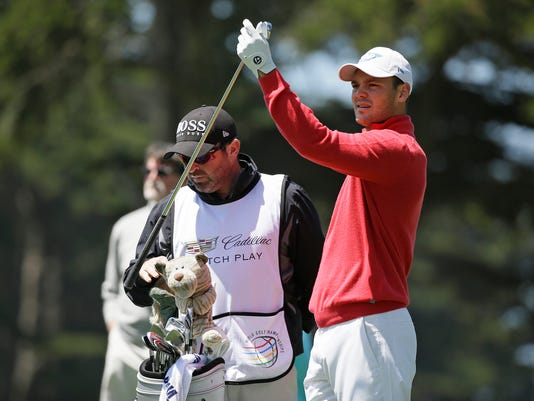 Martin Kaymer of Germany prepares to hit from the second tee of TPC Harding Park during round-robin play against Thongchai Jaidee of Thailand at the Match Play Championship golf tournament Wednesday, April 29, 2015, in San Francisco. (AP Photo/Eric Risberg)