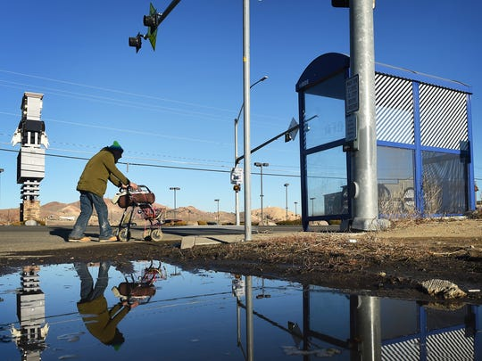 83-year-old Don Rosevear approaches the crosswalk at North Virginia Street and Bailey Drive in front of the Bonanza Casino in Reno on Jan. 7.