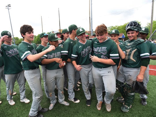 DePaul starting pitcher Kyle Lesler (no.25) is called as a MVP following their victory 5 to 1 over Passaic Valley during their  Passaic County baseball tournament championship at Passaic Tech's field in Wayne on 05/2018.