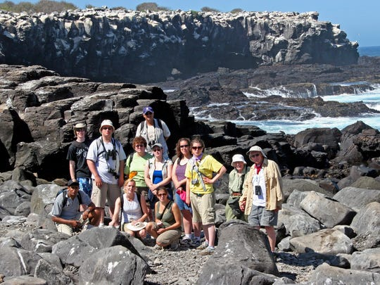 RIT students pose for a photo on the Galapagos Islands.