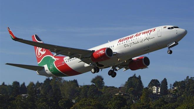 A Kenya Airways Boeing 737-800.