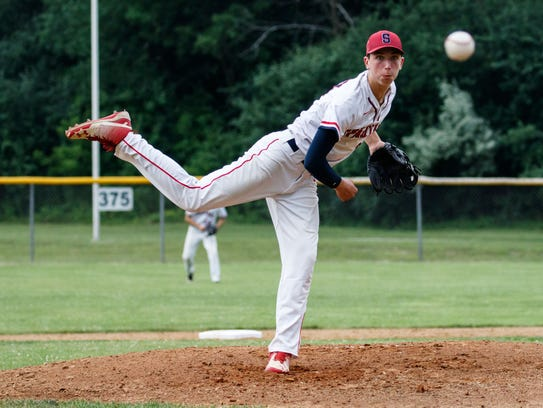 Brookfield East pitcher Danny Butler (33) lets one