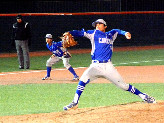 Carlsbad's Trey Castaneda throws a pitch in the top of the sixth inning Saturday against Moriarty.