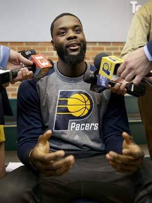 Indiana Pacer Lance Stephenson meets with the media after resigning with the team that originally drafted him in 2010. Stephenson talked for about 15 minutes Friday, March 31, 2017, afternoon at Bankers Life Fieldhouse before rejoining his original NBA team.