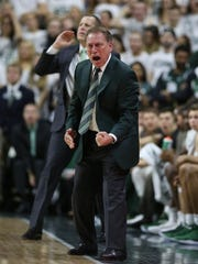 Michigan State head coach Tom Izzo yells from the bench during the first half against Michigan on Saturday, Jan. 13, 2018 at the Breslin Center in East Lansing.