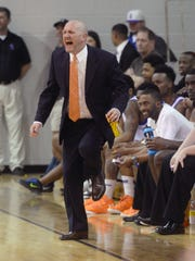 Southwood head coach Norman Picou does not like what he sees on the court as his team takes on Parkway.