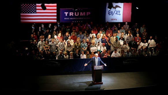 Donald Trump speaks during a rally at Iowa Central