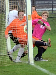 Brighton's Matthew Lussier (background) scored what