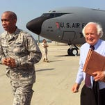 Brigadier General Leonard Isabelle, Commander, Michigan Air National Guard walks with Michigan Congressman Sandy Levin at the Selfridge Air National Guard Base in Harrison Twp. in Michigan on Wednesday, Sept. 2, 2015. Congressman Levin was part of a two-day tour with other Michigan Congressional members to highlight the importance of Michigan's Military installations.