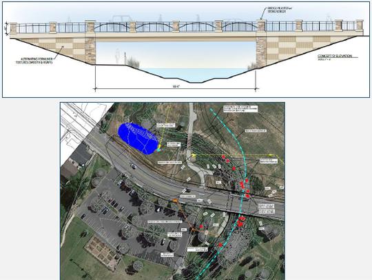 Plans for replacing the bridge at Riverside Avenue