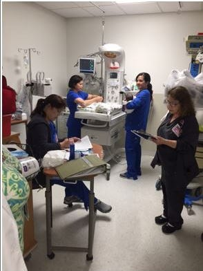 Baby Harvey Rodriguez was born in Corpus Christi as Hurricane Harvey made landfall. Also pictured are nurses Anissa Mitchell, Cici Alicaway, Irene Barrios, Marie Elena Bird at Corpus Christi Medical Center Doctors Regional.