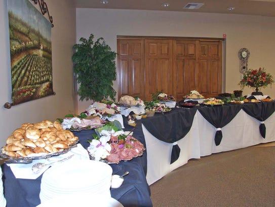 A full buffet set-up at Messinger Mortuaries kitchens