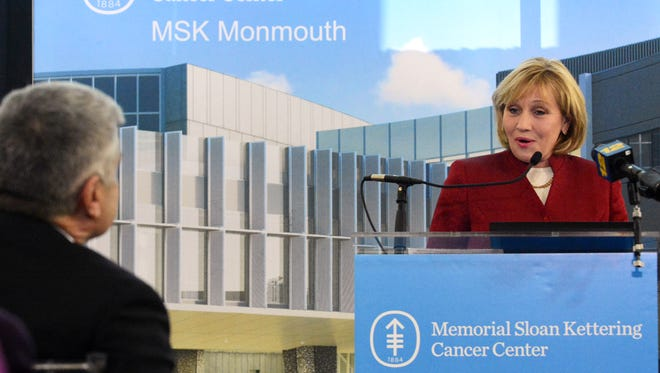 New Jersey Lt. Governor, Kim Guadagno, addresses the audience at the Memorial Sloan Kettering Opening Celebration in Middletown on Monday.