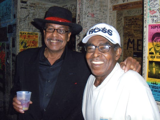 Herbert Wiley, left, with blues musician T-Model Ford at Ground Zero Blues Club.