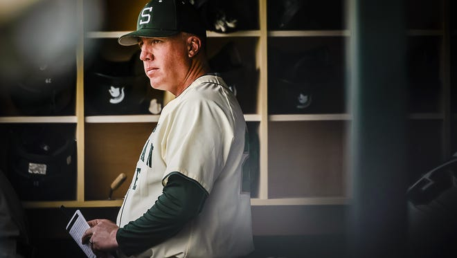 MSU baseball coach Jake Boss watches his team  during Sunday's game against Indiana in East Lansing. The Spartans face No. 16 Michigan in a three-game series this weekend.