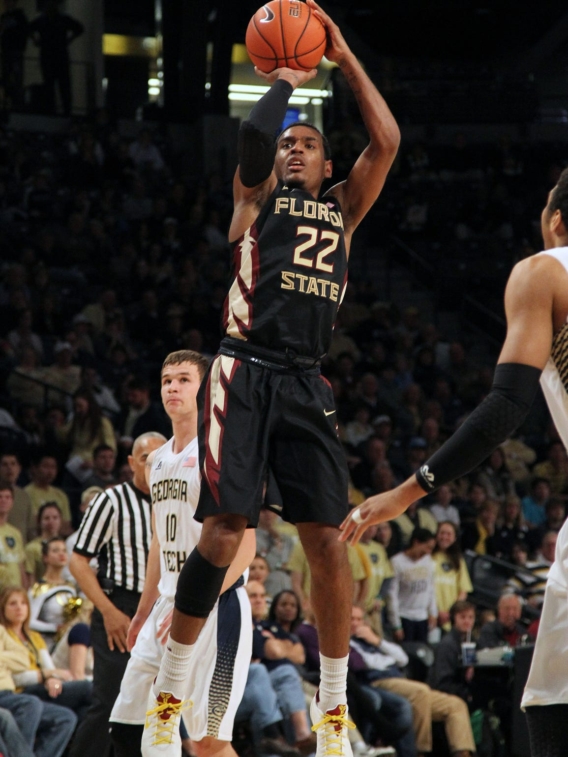 Xavier Rathan-Mayes shoots against Georgia Tech in