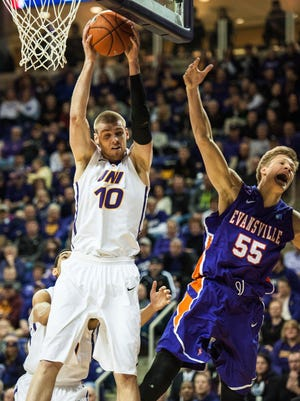 Seth Tuttle (10) finished with 10 points, eight rebounds and three assists as UNI improved to 27-2, 16-1 in the Valley.