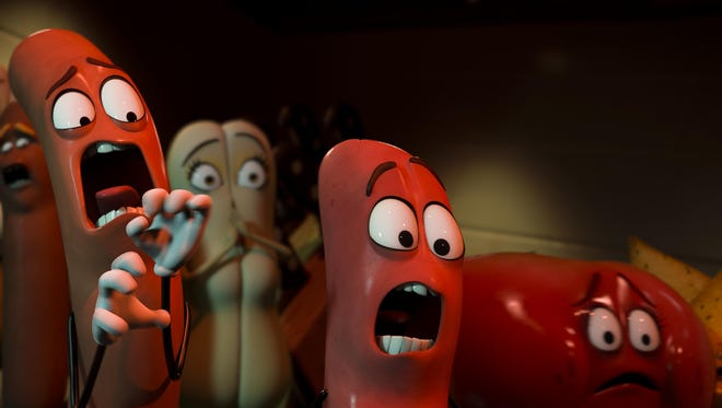 """Carl (Jonah Hill) and Barry (Michael Cera) in """"Sausage Party."""""""