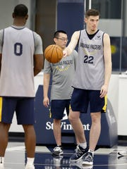 Indiana Pacers forward T.J. Leaf (22) during Pacers practice at the St. Vincent Center on Tuesday, Sept. 26, 2017.