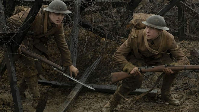 """Dean-Charles Chapman and George MacKay in """"1917"""" {Francois Duhamel/Universal Pictures and DreamWorks Pictures/TNS]"""