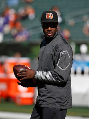 Bengals wide receiver A.J. Green walks on the field before Sunday's game against Baltimore.
