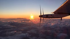 The Solar Impulse 2 plane flies the skies after taking