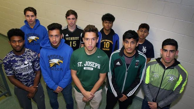 HNT All-Area Boys Soccer First Team. Back row (left to right): Bruno Andino, North Brunswick, Matt Mischler, Monroe, Sergio Caballero, South Brunswick, William Rojas, New Brunswick. Front row (left to right): Sual Downs, Old Bridge, Hamza Khan, North Brunswick, Antonio Oliveira, St. Joseph, Sahil Patel, East Brunswick, Jacob Villacres, South Plainfield.