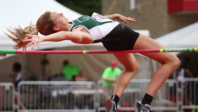 Zionsville's Katie Isenbarger finished third in high jump, during the IHSAA 43rd annual girls track and field state finals, Robert C. Haugh Track and Field Complex at Indiana University, Bloomington, Ind., Friday, June 3, 2016.