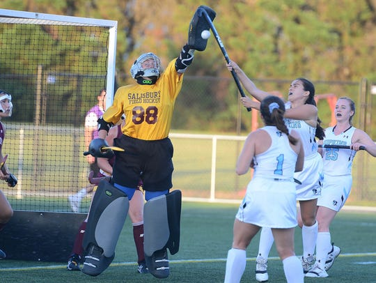 Salisbury University's Tressie Windsor makes a save