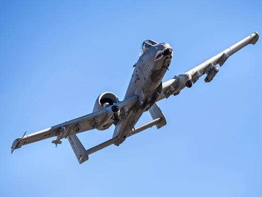 An A-10C Thunderbolt II soars through the skies in preparation for Green Flag-West, Jan. 12, 2017, above Moody Air Force Base, Ga. During Green Flag-West, participants encountered insurgency scenarios geared specifically toward combating threats from small cell terror groups or more organized groups like the Taliban