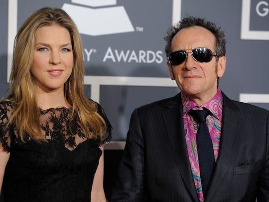 Diana Krall, left, and Elvis Costello arrive at the 53rd annual Grammy Awards on Sunday, Feb. 13, 2011, in Los Angeles. (