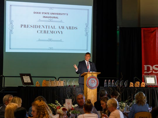 Dixie State University President Richard B. Williams presents at the inaugural Presidential Awards Ceremony on April 26 in the Gardner Ballroom on the Dixie State campus.