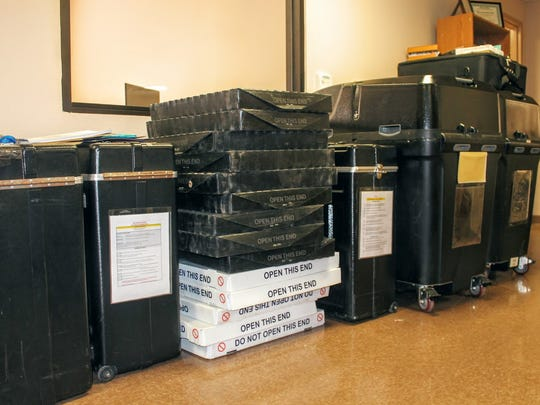 Ballot boxes sit at the Otero County Clerk's Office 1104 N. White Sands Blvd. Suite C ready to be filled and counted.