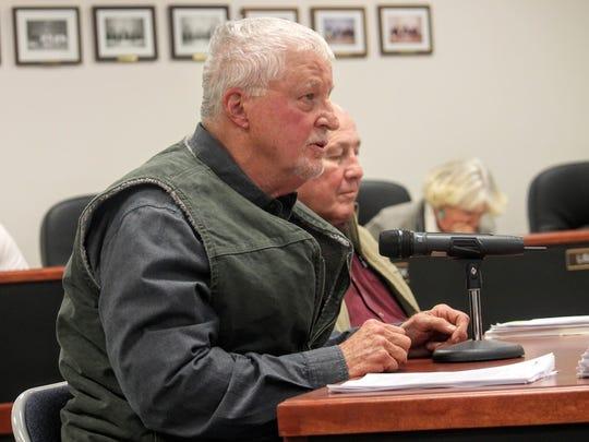 "County resident Richard ""Rick"" Baish voices his concern over the Rio Peñasco wetland project."