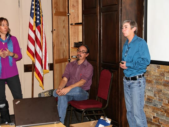 From left to right, Aquifer Mapping Program Manager Stacy Timmons, Hydrogeologist Dr. Talon Newton and Senior Geophysicist Dr. Shari Kelly of the New Mexico Bureau of Geology and Mineral Resources provide a presentation on fresh and brackish water quality in New Mexico.
