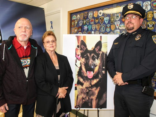 Alamogordo Chief of Police Daron Syling stands with