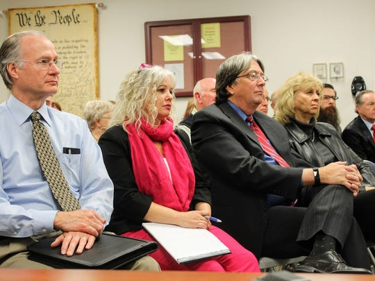 From left to right, 12th Judicial District Judge Jerry H. Ritter, 12th Judicial Court Executive Officer Katina Watson, 12th Judicial District Judge James W. Counts and former Otero County Magistrate Judge Irene Mirabal-Counts were in attendance at the county commission special meeting Wednesday to go over the feasibility studies of the judicial complex.