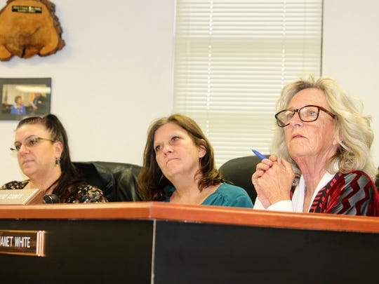County Commissioners from left to right, Lori Bies, Susan Flores and Janet White listen to the proposed deep borehole project in Otero County at their Thursday, Jan. 12 meeting.