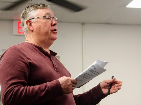 Otero County Fair Board Vice Chair Matt Nixx explains that the fairgrounds should be expanded to make room for bigger carnival rides at the Jan. 12 commission meeting.