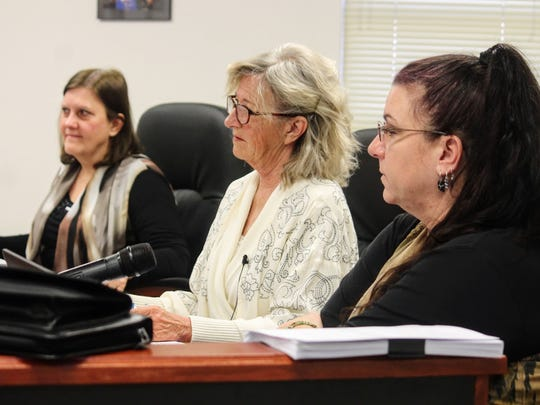 Otero County Commissioners from left to right, Susan Flores, Janet White and Lori Bies listen to details regarding the deep borehole project at their Feb. 9 regular county commission meeting.