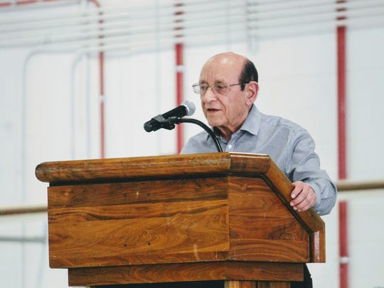 Founding father of unmanned aerial vehicle technology Abraham E. Karem speaks at Holloman Air Force Base Monday, Feb. 27. Karem invented the technology for drones used today.