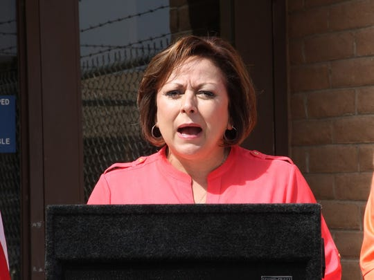 Gov. Susana Martinez discussed budget issues during a press conference in Alamogordo Tuesday.
