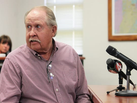 Private land owner Greg Duggar who owns the land where the proposed borehole will be located read aloud a letter he wrote to County Commissioners during their meeting Thursday, April 13.