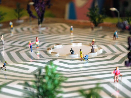 A close-up of the labyrinth model. The labyrinth is expected to be 180 ft. long and will be located on the corner of Washington Avenue and First Street.