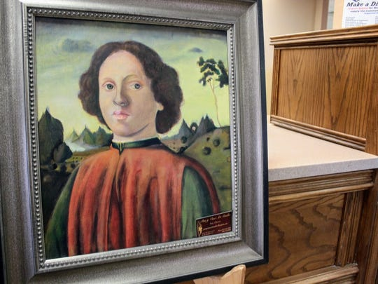 An art piece painted by Luis Orozco sits on display at First National Bank, 414 E. 10th St. throughout the month of May.