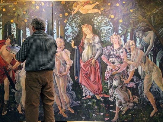 Tularosa painter Luis Orozco recreated La Primavera, a famous Renaissance piece painted by Sandro Botticelli by free-hand. Orozco is currently completing the piece at First National Bank, , 414 E. 10th St.