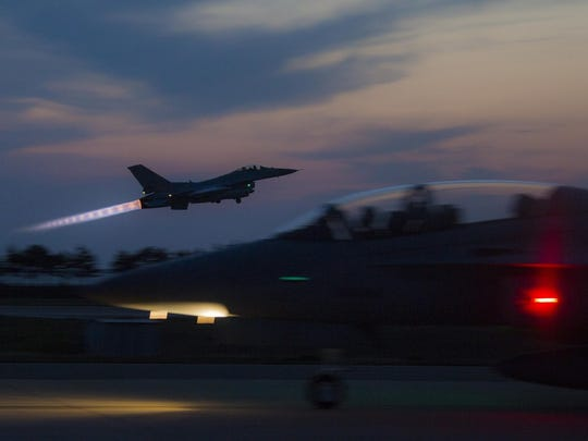 A South Korean air force F-16 Fighting Falcon aircraft takes off during Exercise Max Thunder 17 at Kunsan Air Base, South Korea, April 26, 2017. Max Thunder serves as an opportunity for U.S. and South Korean air forces to train together and sharpen tactical skills for the defense of the Asia-Pacific region. It is an annual military-flying exercise built to promote interoperability between U.S. and South Korean forces.