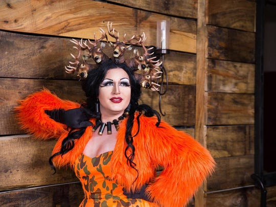 Drag performer Trixi Del Mar poses in a unique headpiece made of faux deer heads. Del Mar also designs and sells costumes for her business, Del Mar Originals.